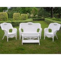 4 Piece Wicker Patio Sofa Set In White - 3194-wt