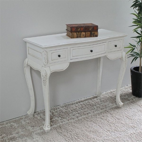 Antique White Hand Carved Vanity Desk - 3979-aw