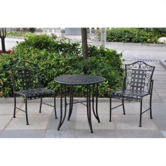 3 Piece Outdoor Table And Chairs Wooden Office Chair Without Wheels Wrought Iron Patio Bistro Set In Antique Black 3473 Ep