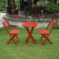3 Pc Folding Patio Bistro Set in Red - TT-VN-0158-BRD