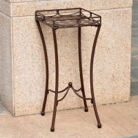 Nailhead Patio Plant Stand in Brown - 3560-RT-BN