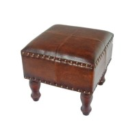 Square Faux Leather Ottoman in Brown - YWLF-2529-BR