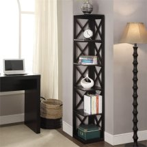 5 Shelf Corner Bookcase In Black - 203080bl