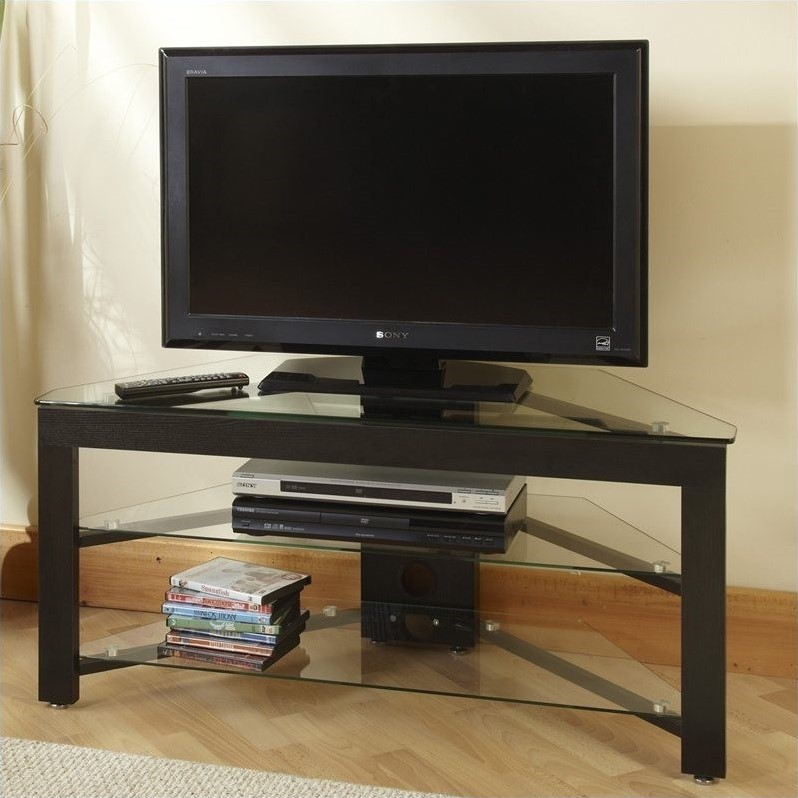 43 and Wood Corner TV Stand in Black  TV01A