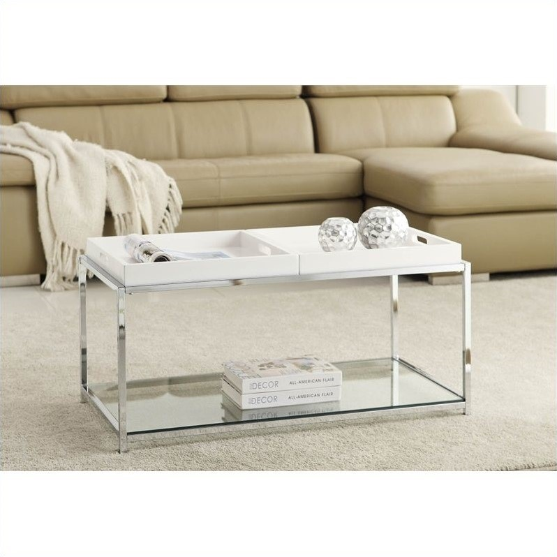 convenience concepts palm beach clear glass coffee table with white trays