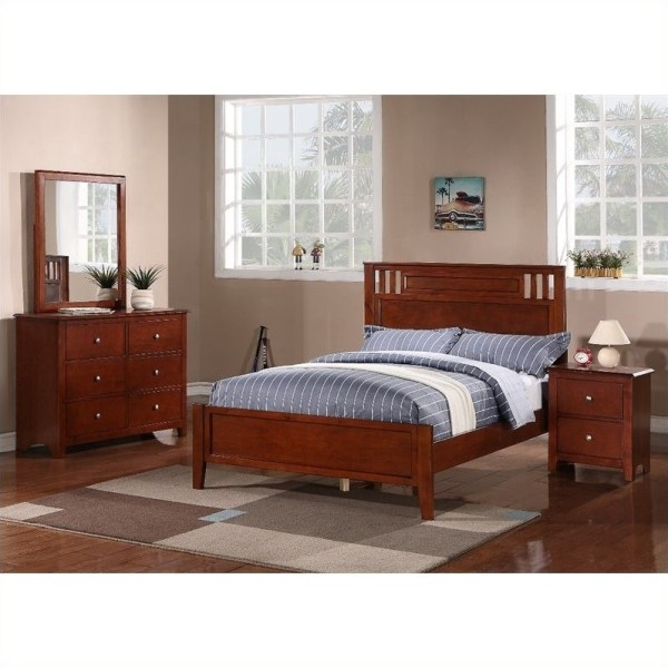 poundex bedroom furniture Poundex 4 Piece Bedroom Set in Medium Oak - Y90470X