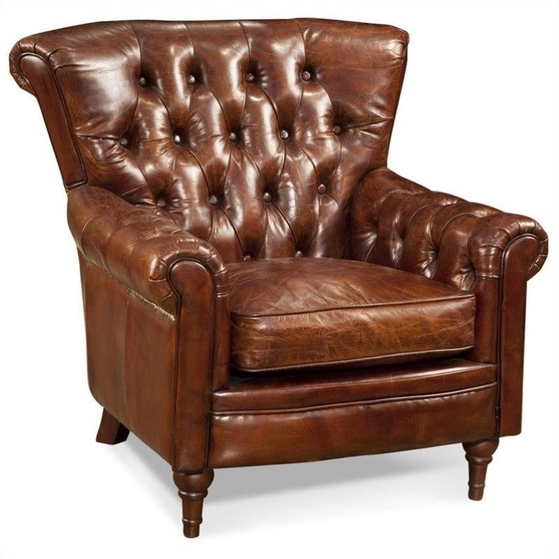 Moes New Castle Tufted Leather Club Arm Chair in Brown
