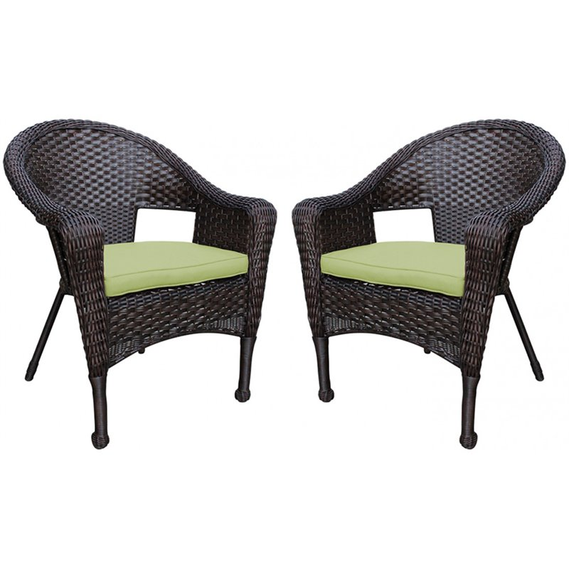 jeco wicker patio chair in brown and sage green set of 2