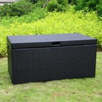 Jeco Wicker Patio Storage Deck Box in Black - ORI003-D
