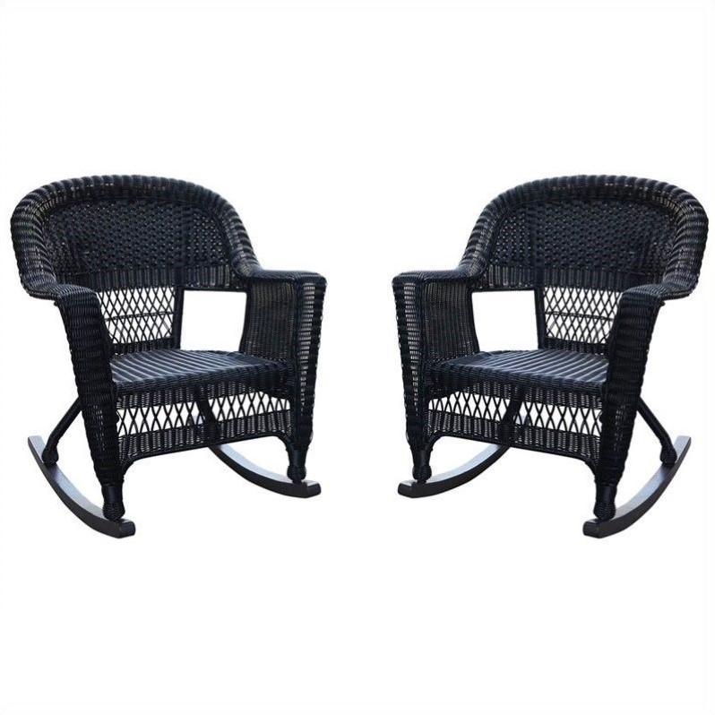 Jeco Wicker Rocker Chair in Black Set of 2  W00207RD_2