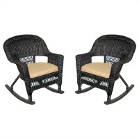 Jeco Wicker Rocker Chair in Black with Tan Cushion (Set of ...