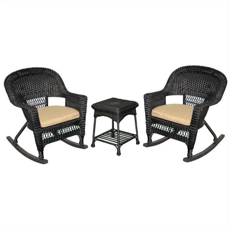 Jeco 3pc Wicker Rocker Chair Set in Black with Tan Cushion