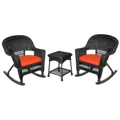 2 Pc Rocking Chair Cushions Replacement Casters Jeco 3pc Wicker Rocker Set In Black With Red Cushion W00207r D Rces018