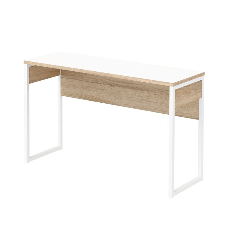 Narrow Computer Desk in White and Oak Structure  8018849ak
