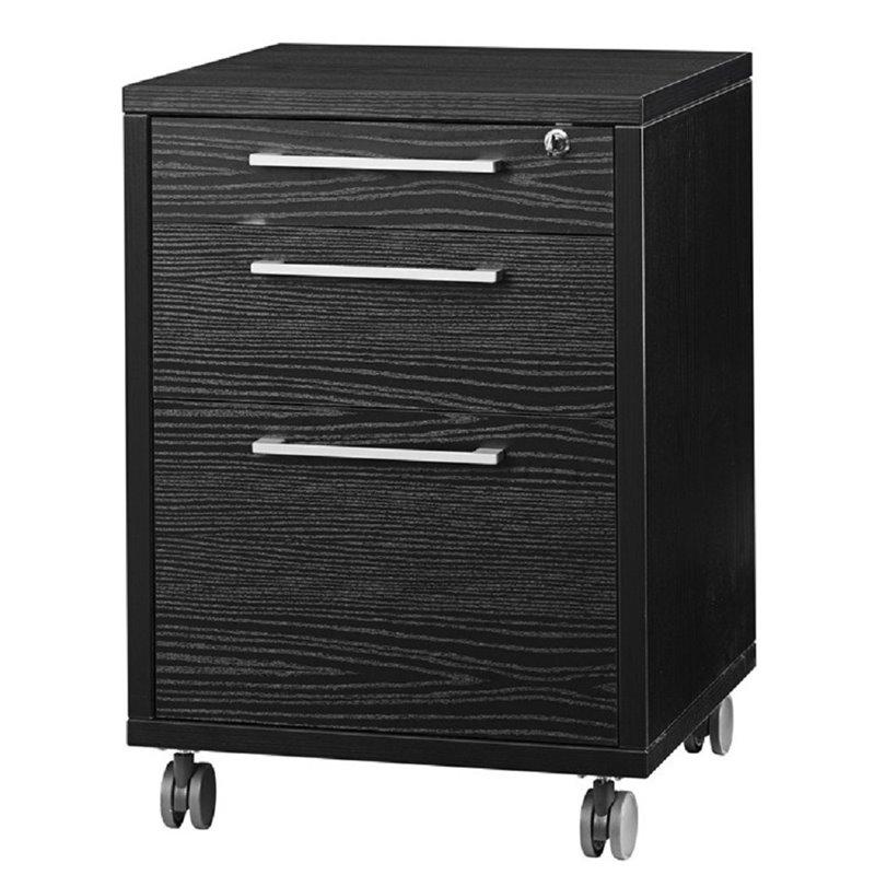 3 Drawer Wood Mobile Filing Cabinet in Black Wood Grain
