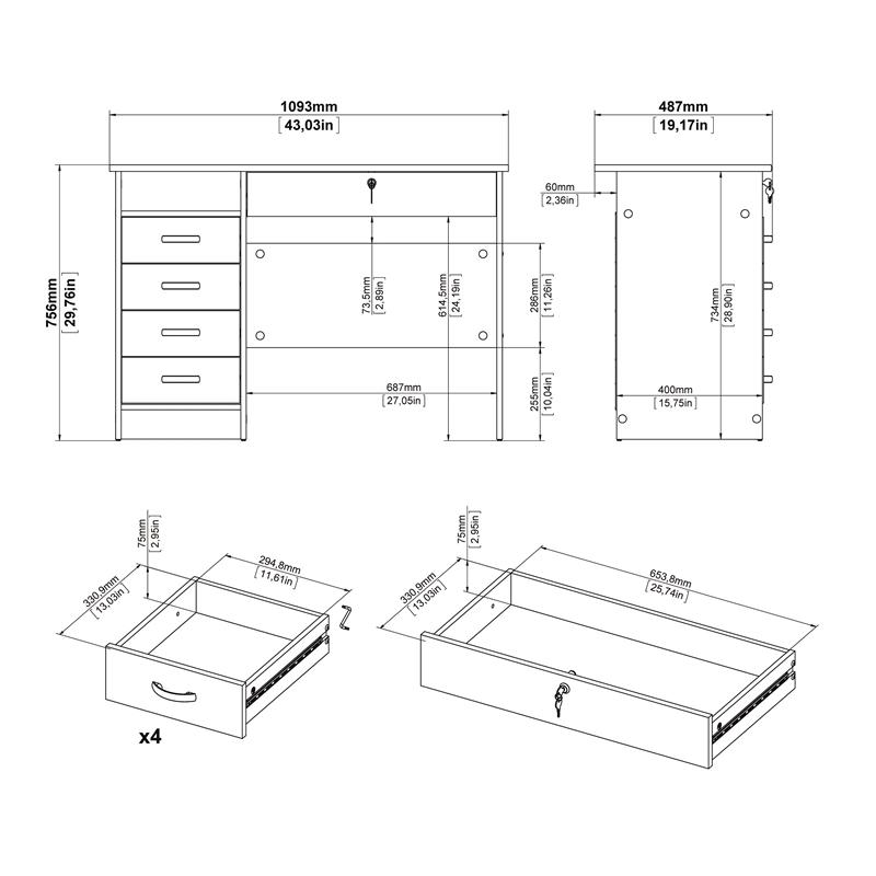 Tvilum Walden Desk with 5 Drawers in Black Woodgrain