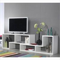 Stewart Bookcase TV Stand in White - 7154149