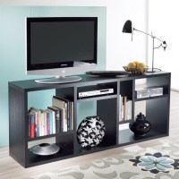 Bookcase TV Stand in Black Woodgrain - 7154161