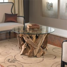 Uttermost Driftwood Glass Coffee Table In Natural - 25519