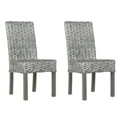 Gray Rattan Dining Chairs Bedroom Side Chair Safavieh Wheatley In Grey White Wash Set Of 2 Fox6525a Set2