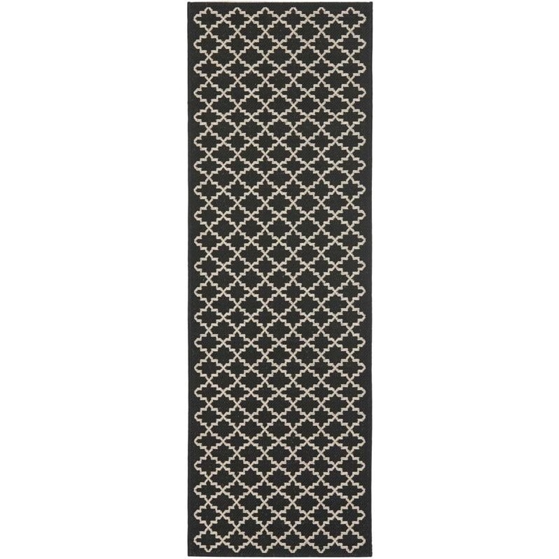 Safavieh Courtyard Black Indoor Outdoor Rug  Runner 24