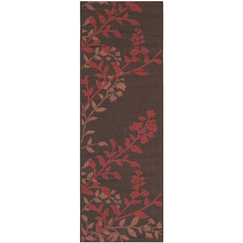 Safavieh Courtyard Chocolate Indoor Outdoor Rug  Runner 2