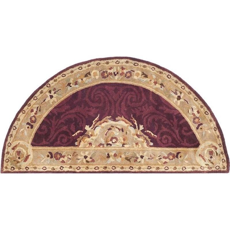 accent sofas fabric corner glasgow safavieh empire dark red traditional rug - half moon 2'6 ...