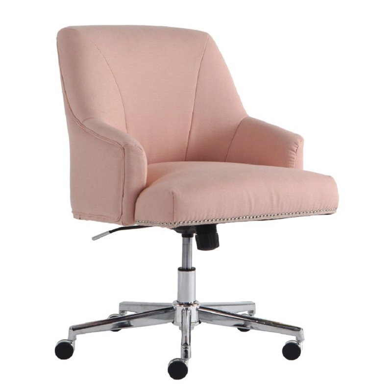 pink swivel chair rattan papasan replacement cushion serta at home style leighton twill office in blush chr200085