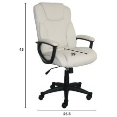 Ivory Leather Office Chair Jrc Fishing Spares Serta At Home Style Hannah Ii Swivel In