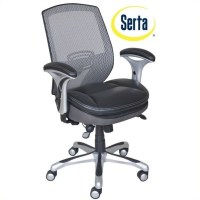 Serta Ergonomic Mesh Back Task Office Chair with Leather ...