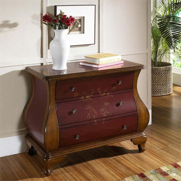 Pri 3 Drawer Hand Painted Bombe Chest In Red And Brown