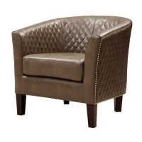PRI Faux Leather Accent Chair in Brown - DS-2515-900-397