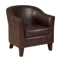 PRI Faux Leather Accent Chair in Brown - DS-2278-900-2
