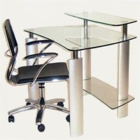 Chintaly Computer Desk with Metal Legs in Stainless Steel ...