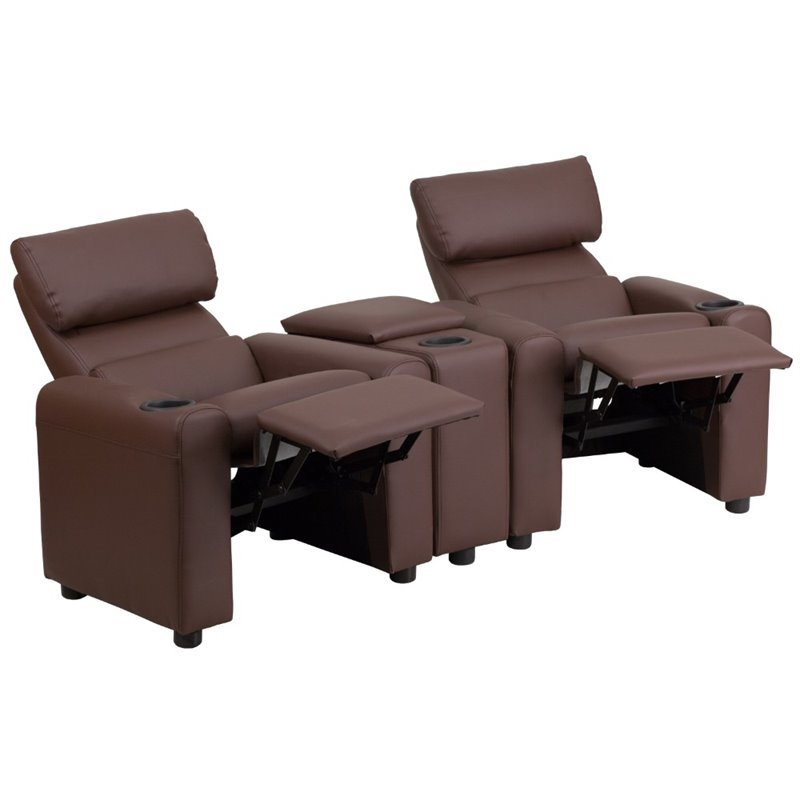 2 seat theater chairs gray recliner chair covers flash furniture leather reclining kids seating in brown