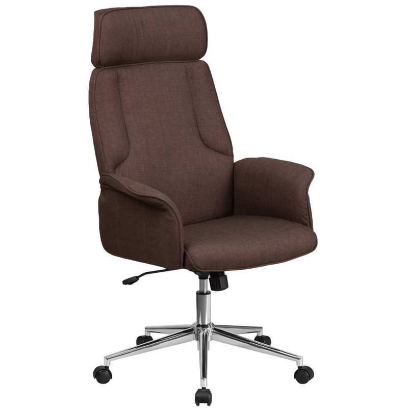Fabric Swivel Office Chair in Brown  CHCX0944HBNGG