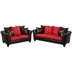Black And Red Leather Sofa Jennifer Taylor Home Upholstered Bed 2 Piece Faux Set In Rs 4170 04ls Gg