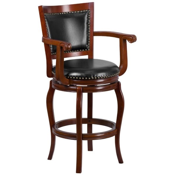 Wood Bar Stools with Arms and Swivel