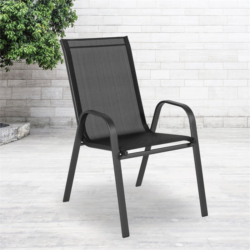 flash furniture brazos sling stacking patio chair in black