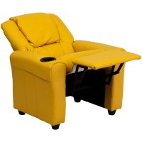 Kids Faux Leather Recliner in Yellow - DG-ULT-KID-YEL-GG