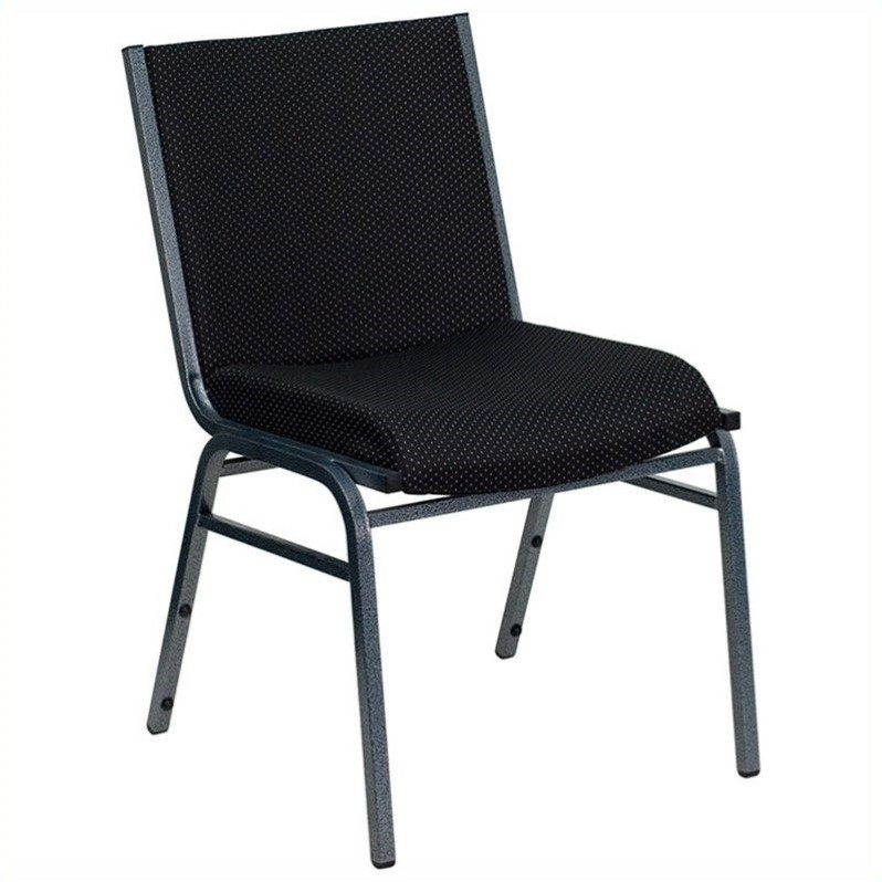 upholstered stacking chairs steel chair with cushion in black xu 60153 bk gg