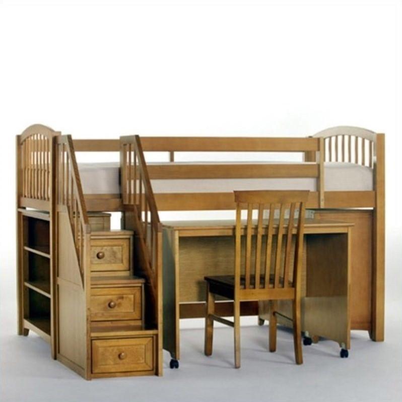NE Kids School House Junior Loft Bed with Stairs in Pecan