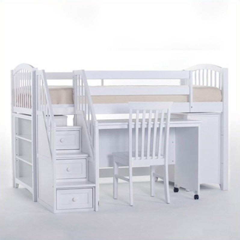 NE Kids School House Junior Loft Bed with Stairs in White