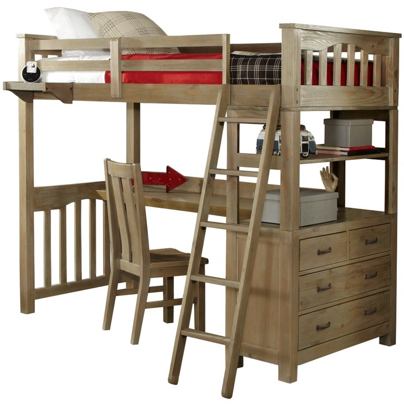 ne kids highlands solid wood twin loft bed with desk in driftwood
