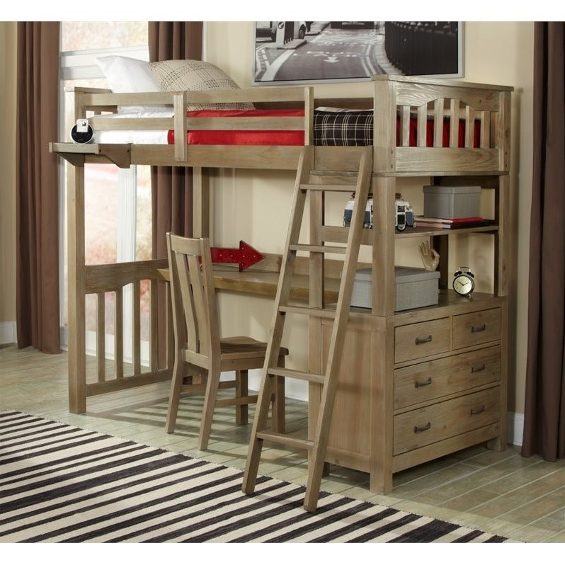 NE Kids Highlands Twin Loft Bed with Desk and Shelf in