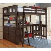 NE Kids Highlands Full Loft Bed with Desk in Espresso ...