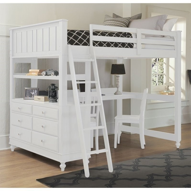 NE Kids Lake House Full Loft Bed with Desk and Shelf in