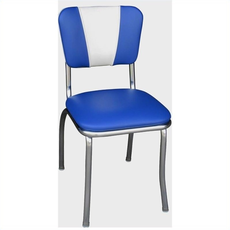 blue and white dining chairs office chair seat covers staples richardson seating retro 1950s chrome in royal 4120rbl