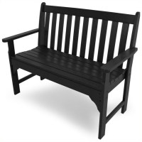 POLYWOOD Vineyard 48 Inch Bench in Black Transitional