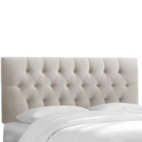 Skyline Upholstered Tufted Queen Headboard in Light Gray